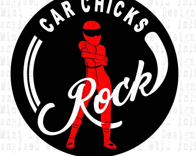 "Grill Badge- Car Chicks Rock  3"" magnetic grill badge"