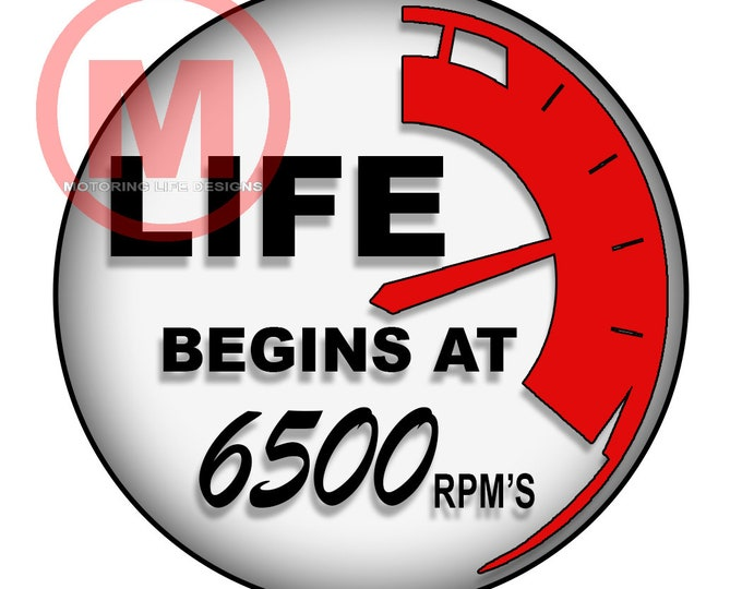 """Grill Badge- LIFE Begins at 6500 rpm's 3"""" magnetic grill badge"""