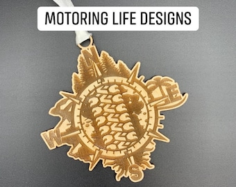 Compass and Tire Track Ornament