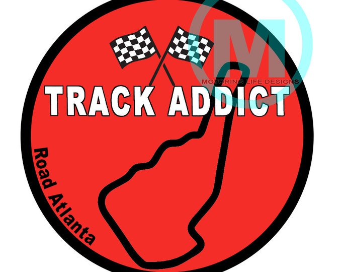 "Stickers- Road Atlanta Track Addict 3"" magnetic grill badge"