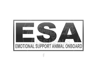 """EMA """"Emotional Support Animal on Board"""" vinyl decal"""