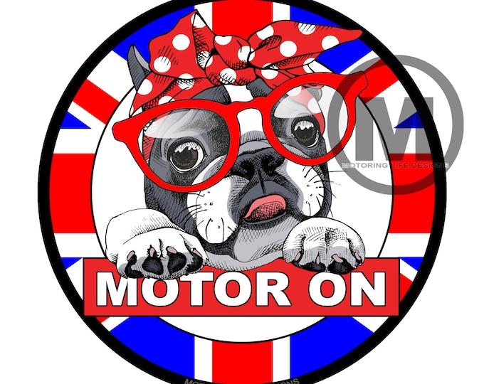 "MOTOR ON- Cuteness  3"" magnetic badge"