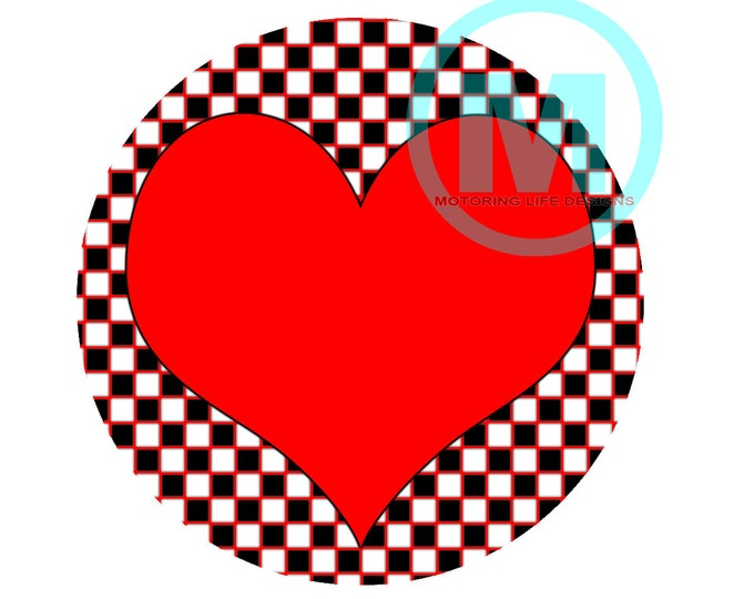 """Grill Badge- Red Heart 3"""" magnetic grill badge"""
