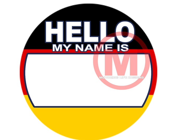 """Grill Badge- German HELLO  3"""" magnetic grill badge"""