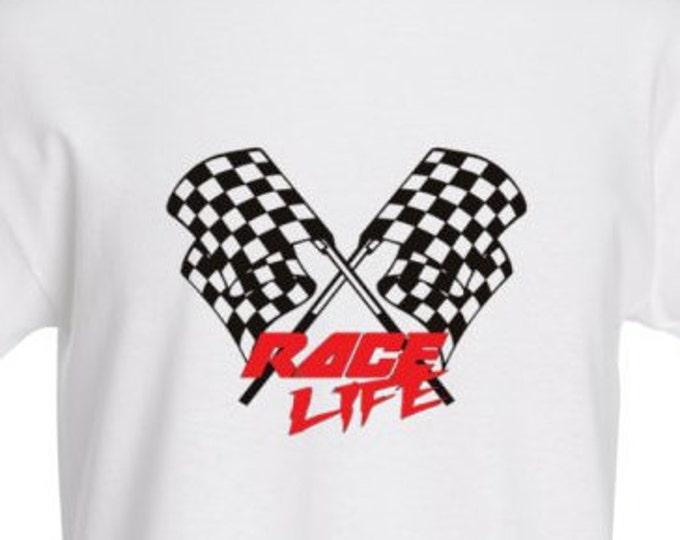 Race Life w/Checkered Flag - Caribbean Aqua t-shirt