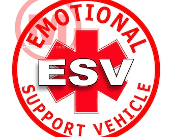 "Emotional Support Vehicle 3"" magnetic badge"