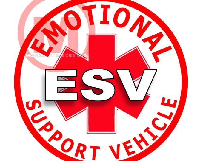 "Emotional Support Vehicle 3"" magnetic badge"