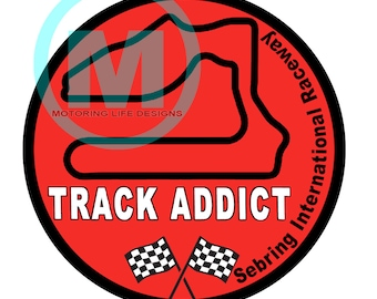 "Stickers- Sebring International Raceway Track Addict 3"" magnetic grill badge"