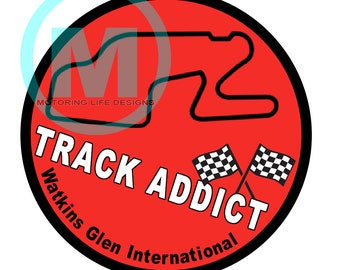 "Stickers- Watkins Glen Track Addict 3"" magnetic grill badge"