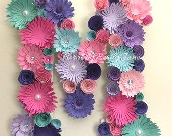 """12"""" Paper Flower Letter / Nursery Decor"""