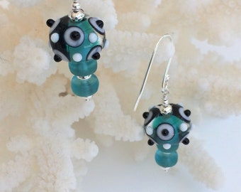 Teal with Black and White Lampwork Earrings