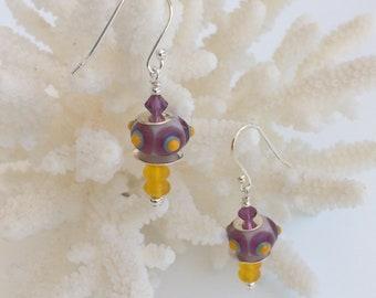 Purple and Mustard Lampwork Earrings