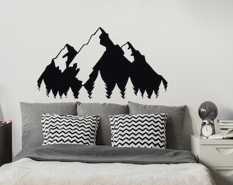 Mountain Landscape Wall Decal- Forest Wall Decal- Nature Wall Decal- Travel Decor- Pine Tree Wall Decal Mountain Nursery Bedroom Decor #129