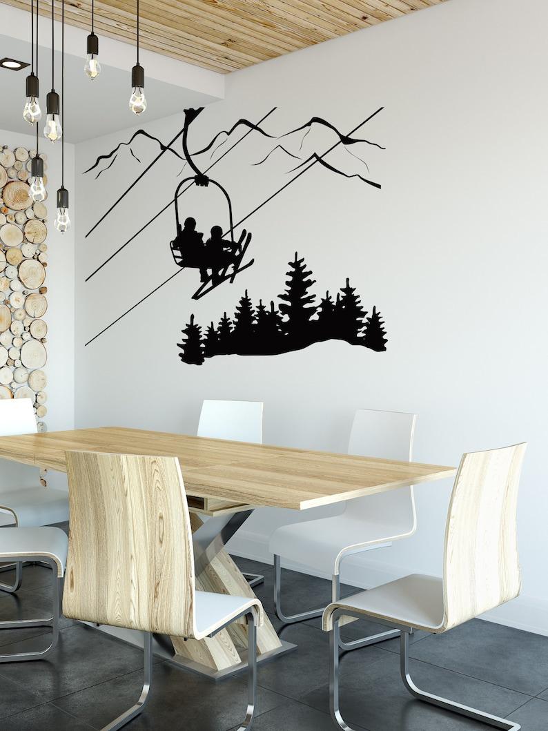 Skiing Wall Decal Skier Ski Lift Chair Mountain Pine Tree image 0