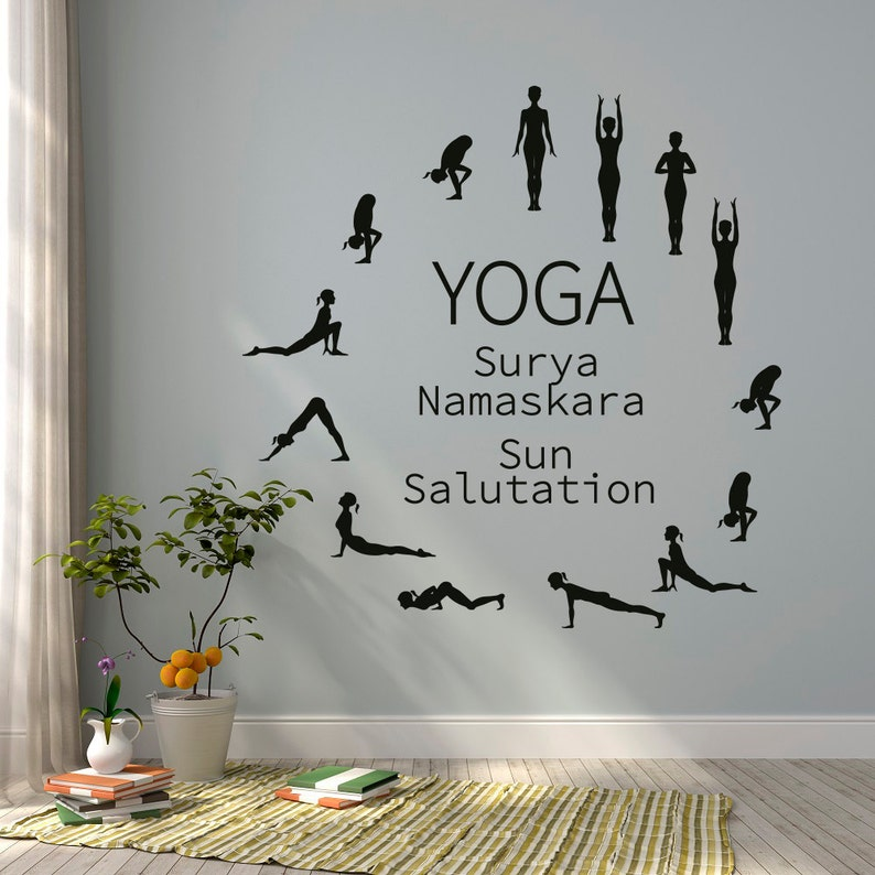 sun salutation yoga wall decal yoga studio vinyl wall decal | etsy