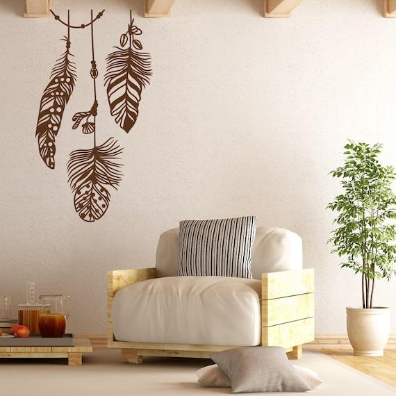 Belle piume vinile adesivo per parete camera da letto Decor - piuma parete  Art Decor Boho, Boho piume Decor, Wall Decal per Living Room #197