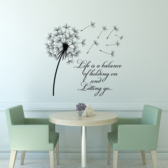 Dandelion Wall Art Dandelion Decor Black White Bedroom: Dandelion Wall Decal Quote Life Is A Balance Holding On