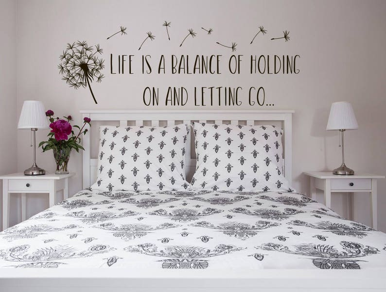 Life Is A Balance Holding On Letting Go Wall Decal Quote Dandelion Decor-  Inspirational Wall Decal Quote Vinyl Lettering Bedroom Decor #182