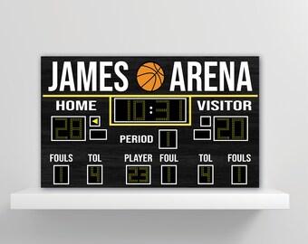 Personalized Custom Scoreboard Basketball Wall Decal Sticker Removable Wall Art Sports Score Board