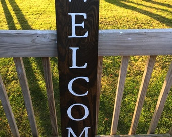 Wooden Hand-Painted Welcome Sign