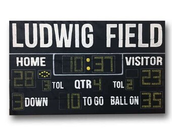 Custom Name Football Scoreboard Reclaimed Wood Hanging Sign