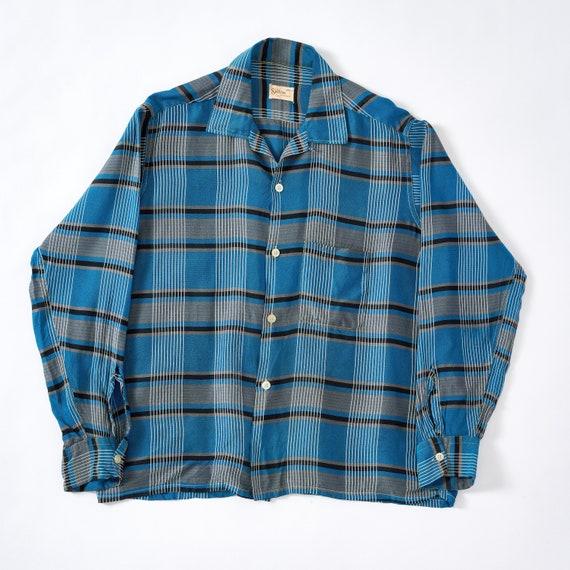 Vintage 1950s L/S Loop Collar Shirt Large