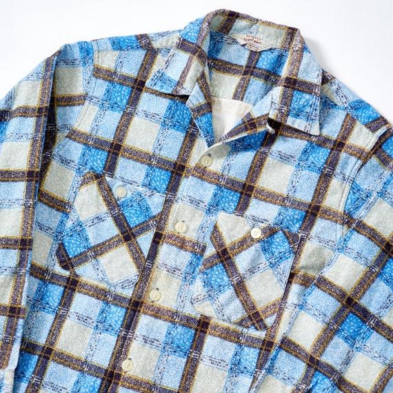 Vintage 1950s Flannel Loop Collar Shirt Medium
