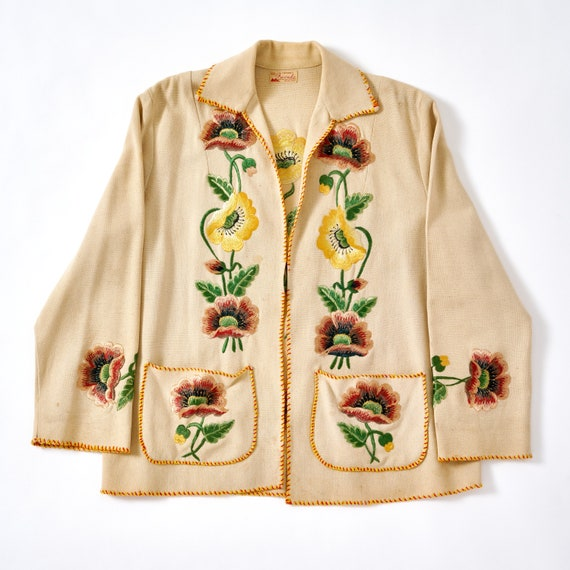 Vintage 1940s Embroidered Mexican Souvenir Jacket