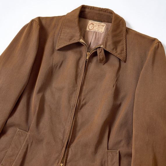 Vintage 40s/50s Brown Belt Back Zip Jacket Small