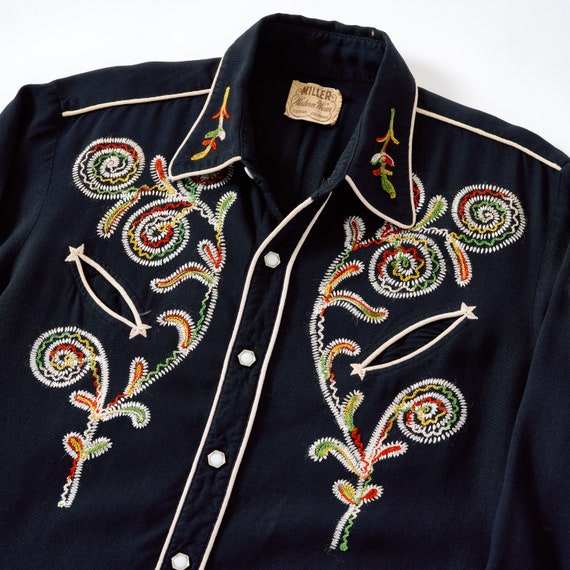 Vintage 1950s H Bar C Embroidered Western Shirt Me