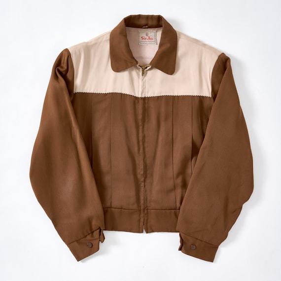 Vintage 1950s Two Tone Gabardine Zip Ricky Jacket