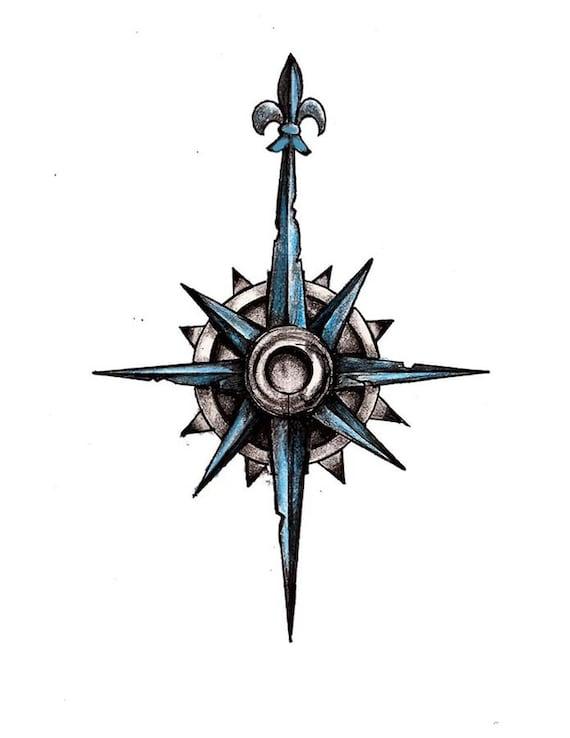 Blue Compass Tattoo Design
