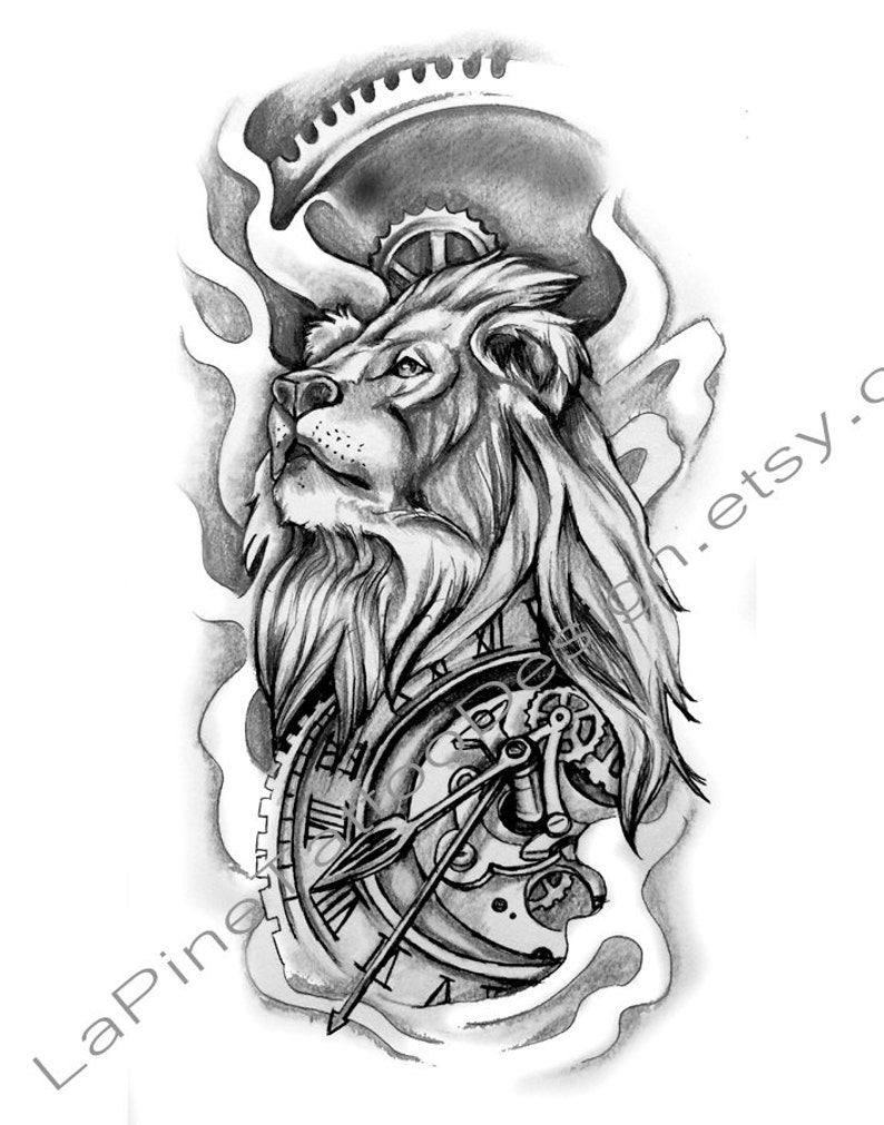 c445552eca3ed Lion and Time Tattoo Design | Etsy
