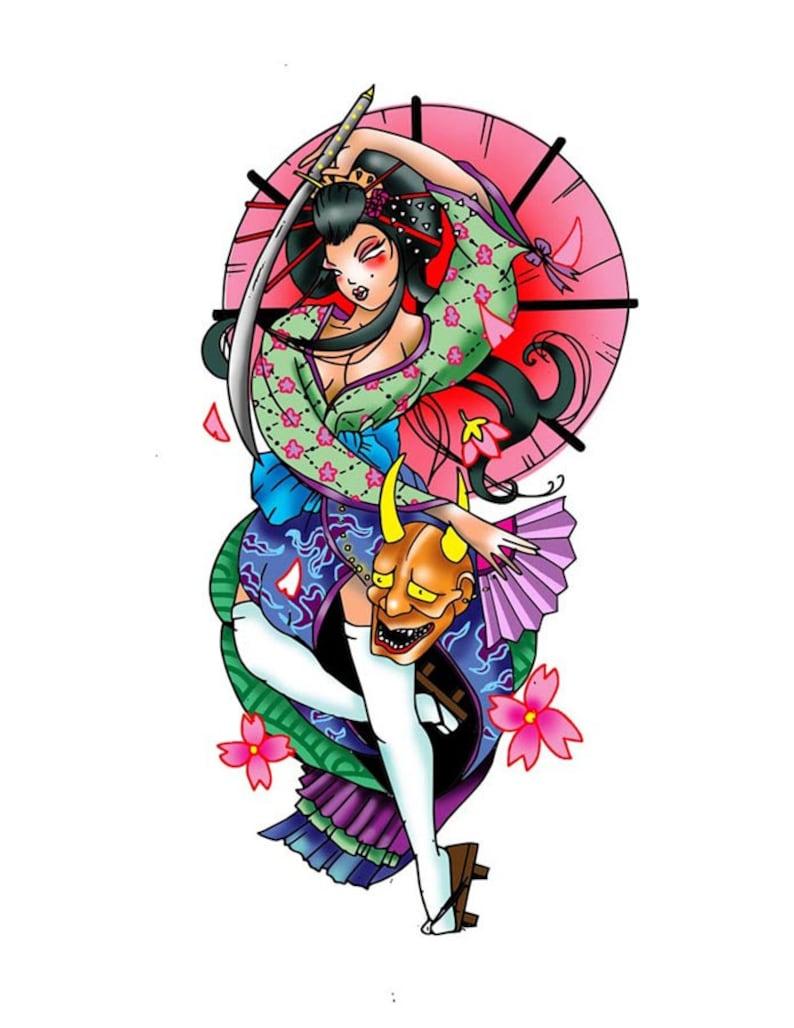 Geisha Warrior Tattoo Design