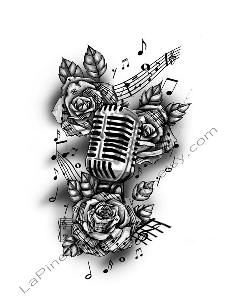 Vintage Microphone and Music Tattoo Design | Etsy