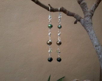 Shades of Green - Freshwater pearls and sterling