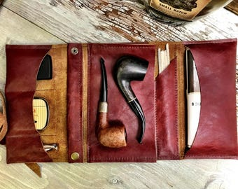 Large Tobacco Pipe Roll / Pipe Pouch -  Red Oxblood Leather with  Removable Pipe Rest