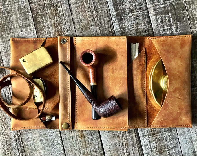 Featured listing image: Rustic Stoned Oil Leather - Large Tobacco Pipe Pouch / Pipe Roll / Pipe Bag - Stoned Oil Brown Finish with  Removable Pipe Rest