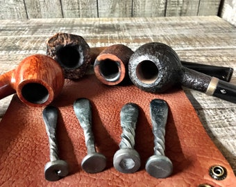 Chunky and Unique Blacksmith Hand Forged Rustic Pipe Tampers