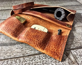 Bison / Buffalo Hide - Medium Tobacco Pipe Roll / Pipe Pouch / Pipe Bag - Apache Brown Finish with Removable Pipe Rest and Tobacco Tin
