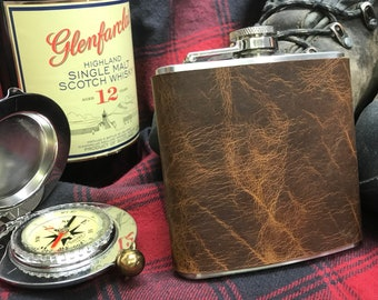 Bison Leather Wrapped Pocket Flask with Funnel - Stainless Steel 6 oz.