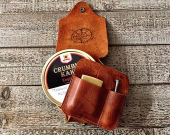The Tin Wrap. Leather Tin Wrap made from Apache Bison Buffalo or Rustic Kodiak Leather Travel Style (holds tobacco, lighter, and pipe tool)