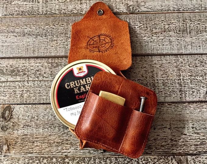 Featured listing image: The Tin Wrap. Leather Tin Wrap made from Apache Bison Buffalo or Rustic Kodiak Leather Travel Style (holds tobacco, lighter, and pipe tool)