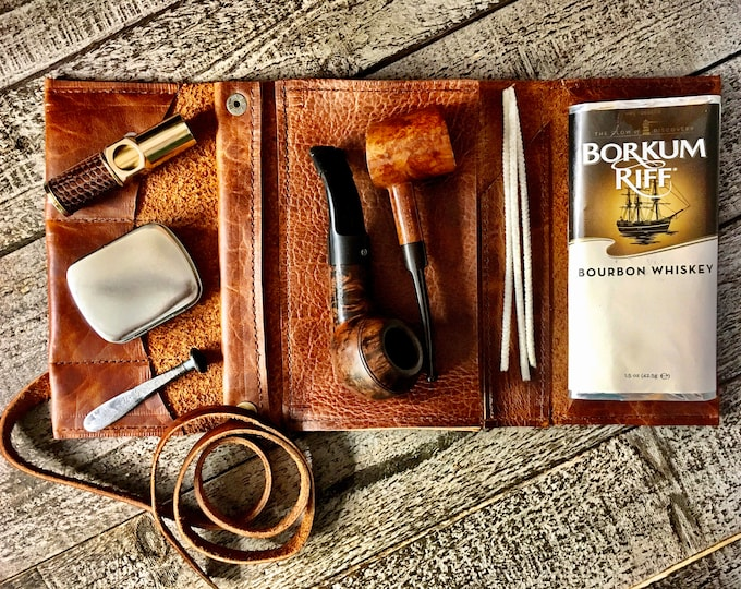 Featured listing image: Bison / Buffalo Hide - Large Tobacco Pipe Pouch / Pipe Roll / Pipe Bag - Apache Brown Finish with  Removable Pipe Rest