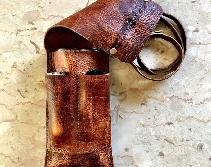 Featured listing image: Bison / Buffalo Leather - Cigar Traveler / Pipe Travel Pouch