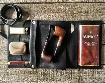 Black Bison / Buffalo Leather - Large Tobacco Pipe Pouch / Pipe Roll - Apache Black with  Removable Pipe Rest
