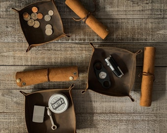 Laredo Leather Pipe & Cigar Accessories - tobacco tray - pipe rest - cigar rest - tobacco mat - pipe cleaner sleeve - zeppelin pipe sleeve