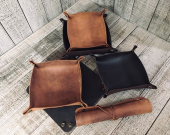 Stoned Oil Leather Travel Style Foldable / Rollable Tobacco Tray / Valet Tray (for tobacco, pipe tools, change..)