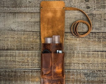 Leather Cigar Traveler / Pipe Travel Pouch