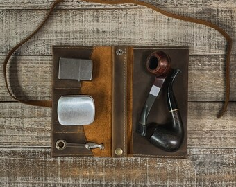 Laredo Leather - Medium Tobacco Pipe Pouch / Pipe Roll / Pipe Bag - Removable Pipe Rest and Tin